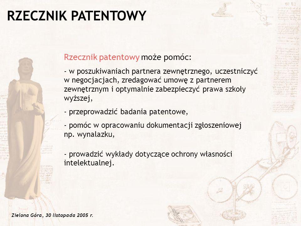 RZECZNIK PATENTOWY Rzecznik patentowy może pomóc: