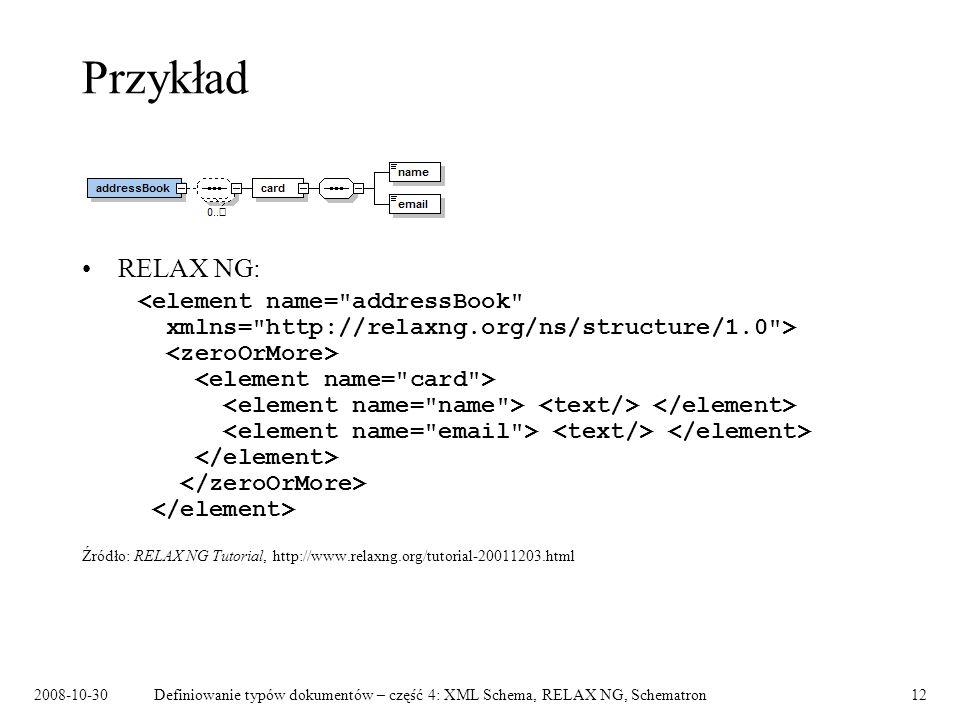 Przykład RELAX NG: