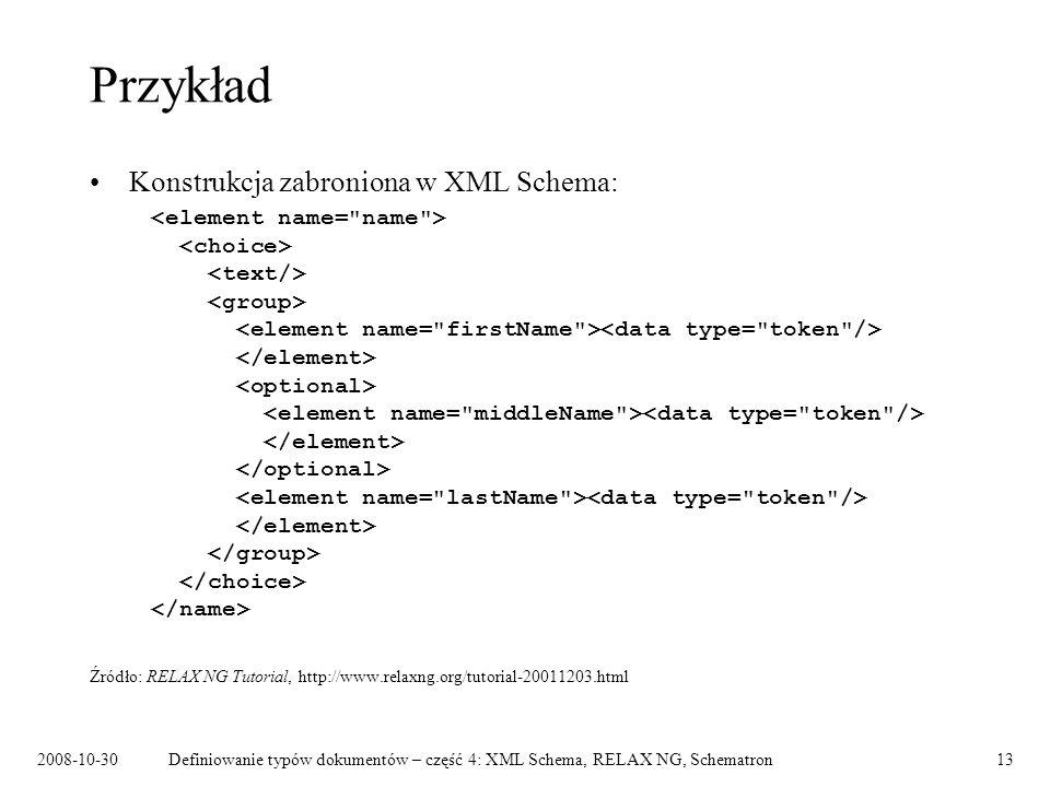 Przykład Konstrukcja zabroniona w XML Schema: