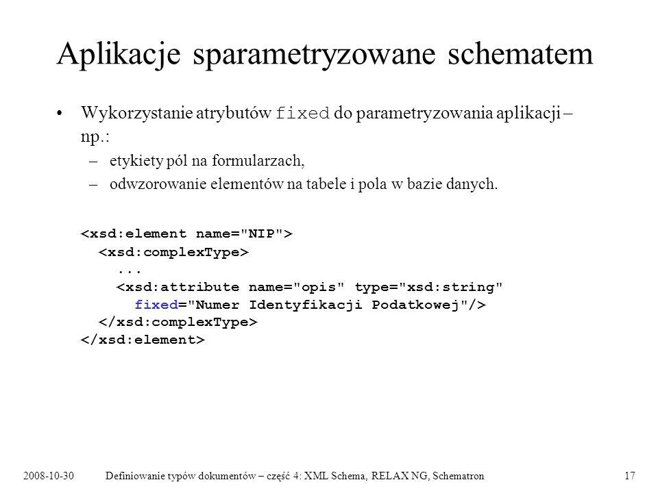 Aplikacje sparametryzowane schematem