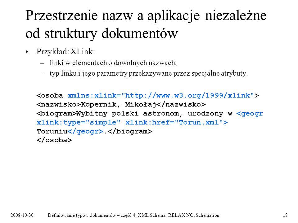 Przestrzenie nazw a aplikacje niezależne od struktury dokumentów