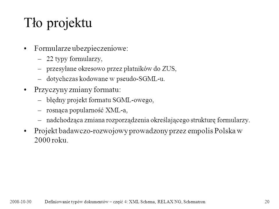 Tło projektu Formularze ubezpieczeniowe: Przyczyny zmiany formatu: