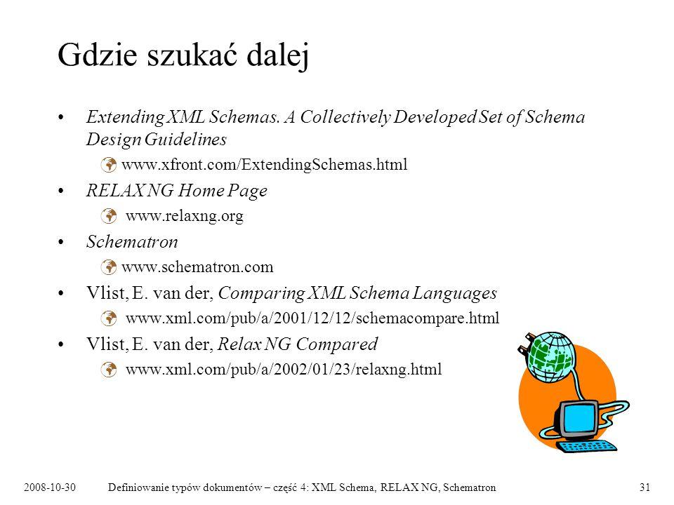 Gdzie szukać dalej Extending XML Schemas. A Collectively Developed Set of Schema Design Guidelines.