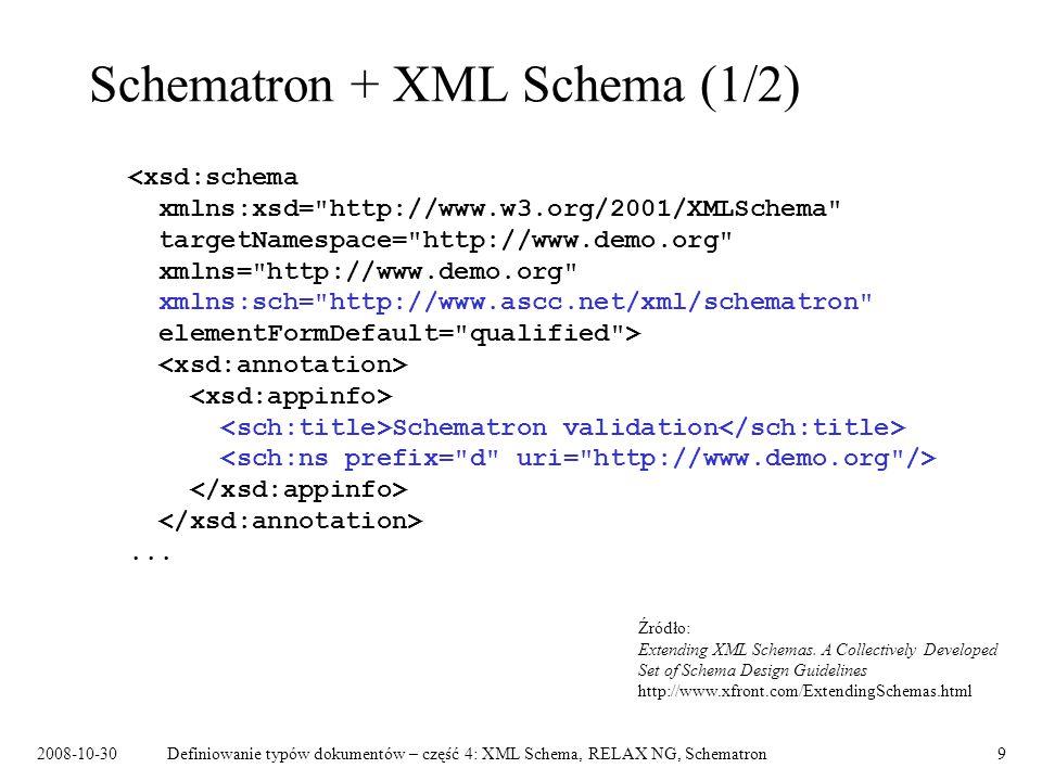 Schematron + XML Schema (1/2)