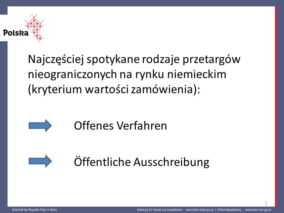 Najczęściej spotykane rodzaje przetargów nieograniczonych na rynku niemieckim (kryterium wartości zamówienia): Offenes Verfahren Öffentliche Ausschreibung