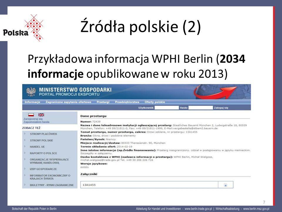 Źródła polskie (2) Przykładowa informacja WPHI Berlin (2034 informacje opublikowane w roku 2013)