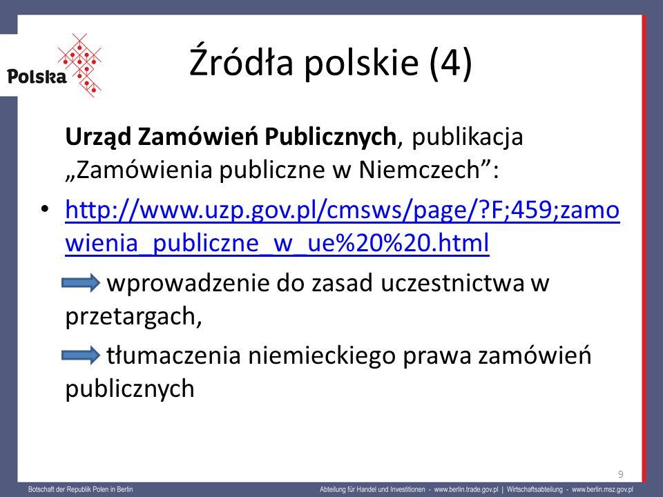 """Źródła polskie (4) Urząd Zamówień Publicznych, publikacja """"Zamówienia publiczne w Niemczech :"""