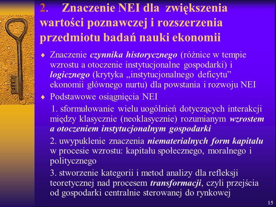 2. Znaczenie NEI dla zwiększenia wartości poznawczej i rozszerzenia przedmiotu badań nauki ekonomii