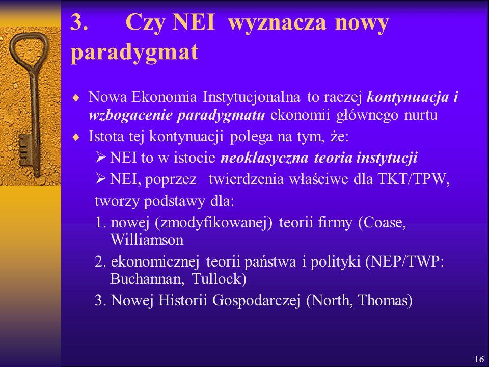 3. Czy NEI wyznacza nowy paradygmat