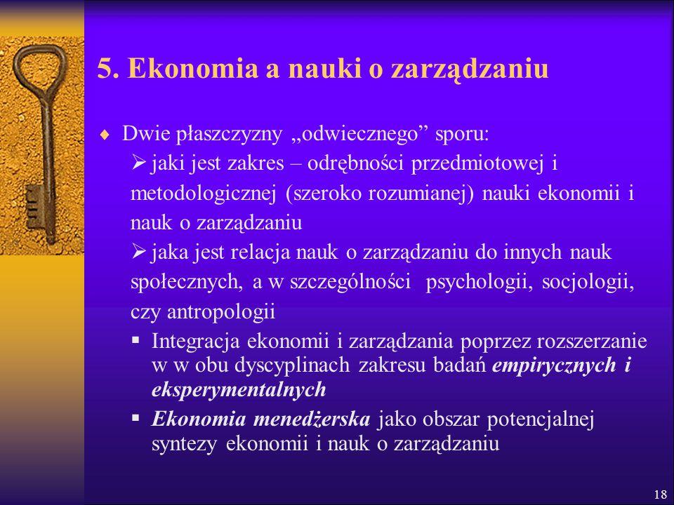 5. Ekonomia a nauki o zarządzaniu