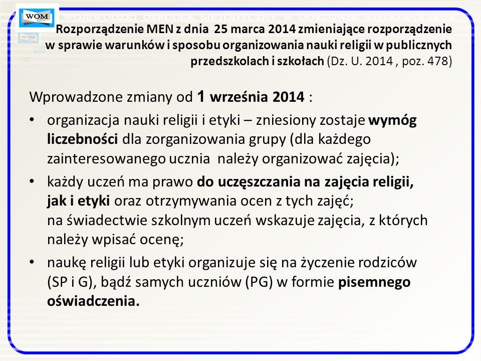 Wprowadzone zmiany od 1 września 2014 :