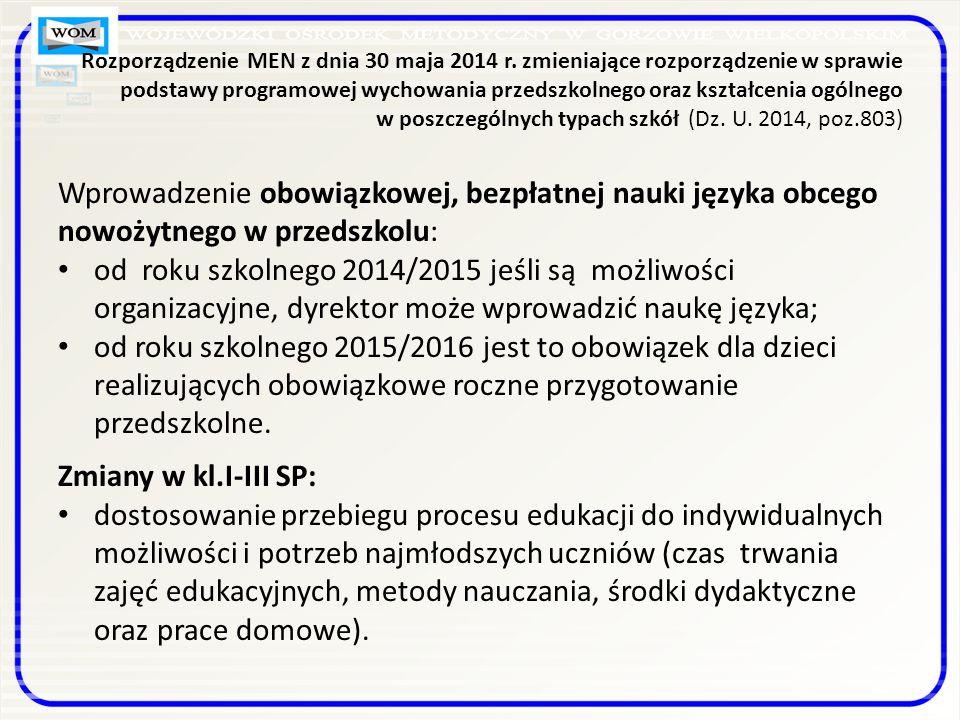Rozporządzenie MEN z dnia 30 maja 2014 r