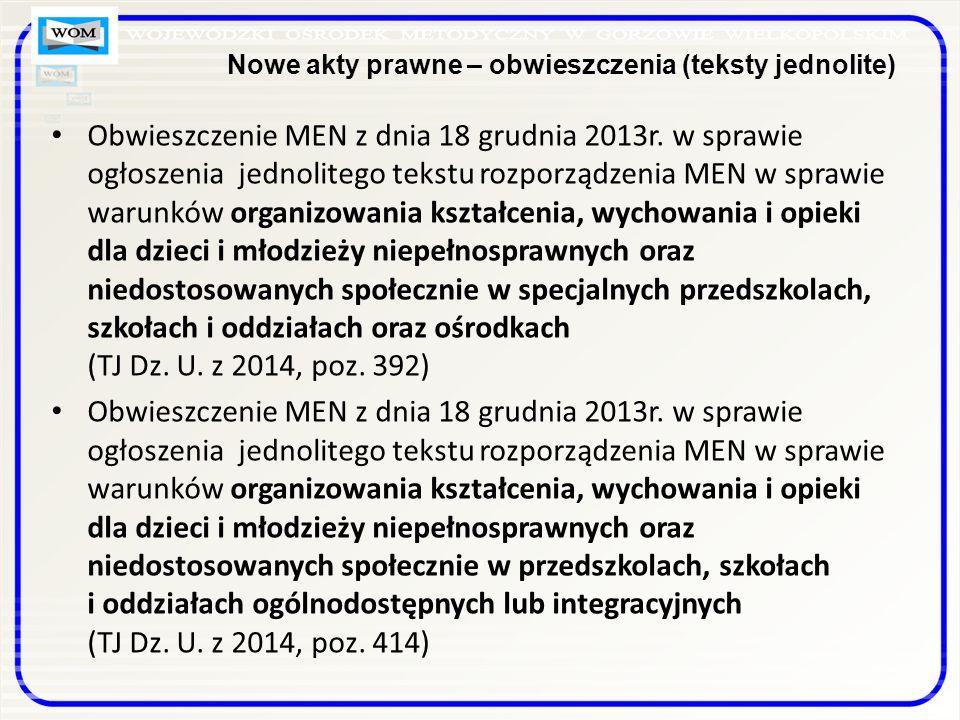 Nowe akty prawne – obwieszczenia (teksty jednolite)