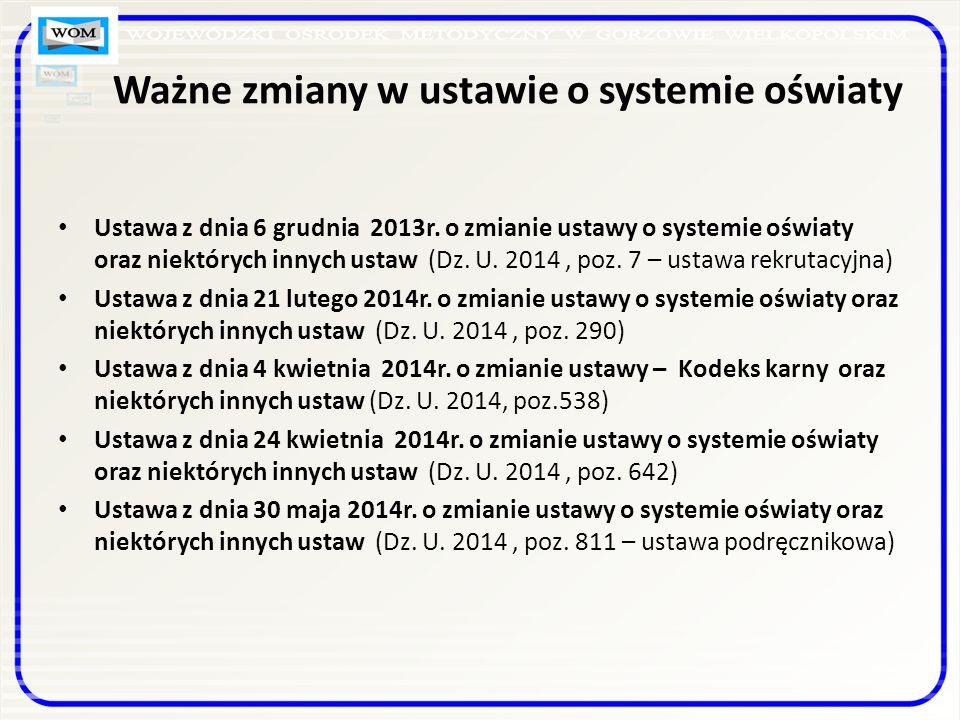 Ważne zmiany w ustawie o systemie oświaty