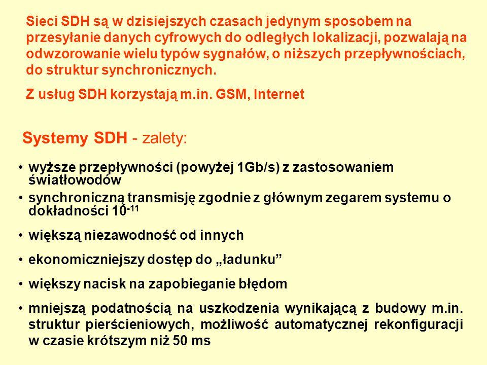 Sieci SDH są w dzisiejszych czasach jedynym sposobem na przesyłanie danych cyfrowych do odległych lokalizacji, pozwalają na odwzorowanie wielu typów sygnałów, o niższych przepływnościach, do struktur synchronicznych.