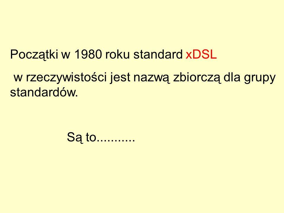 Początki w 1980 roku standard xDSL