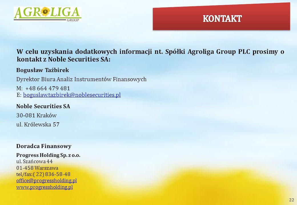 KONTAKT W celu uzyskania dodatkowych informacji nt. Spółki Agroliga Group PLC prosimy o kontakt z Noble Securities SA:
