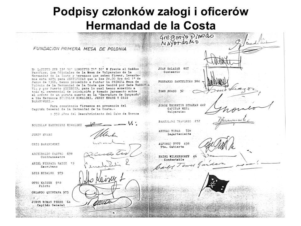 Podpisy członków załogi i oficerów Hermandad de la Costa