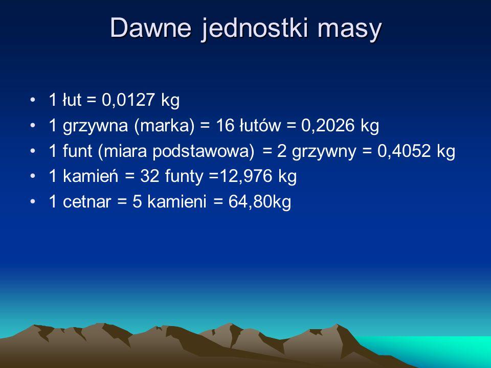 Dawne jednostki masy 1 łut = 0,0127 kg