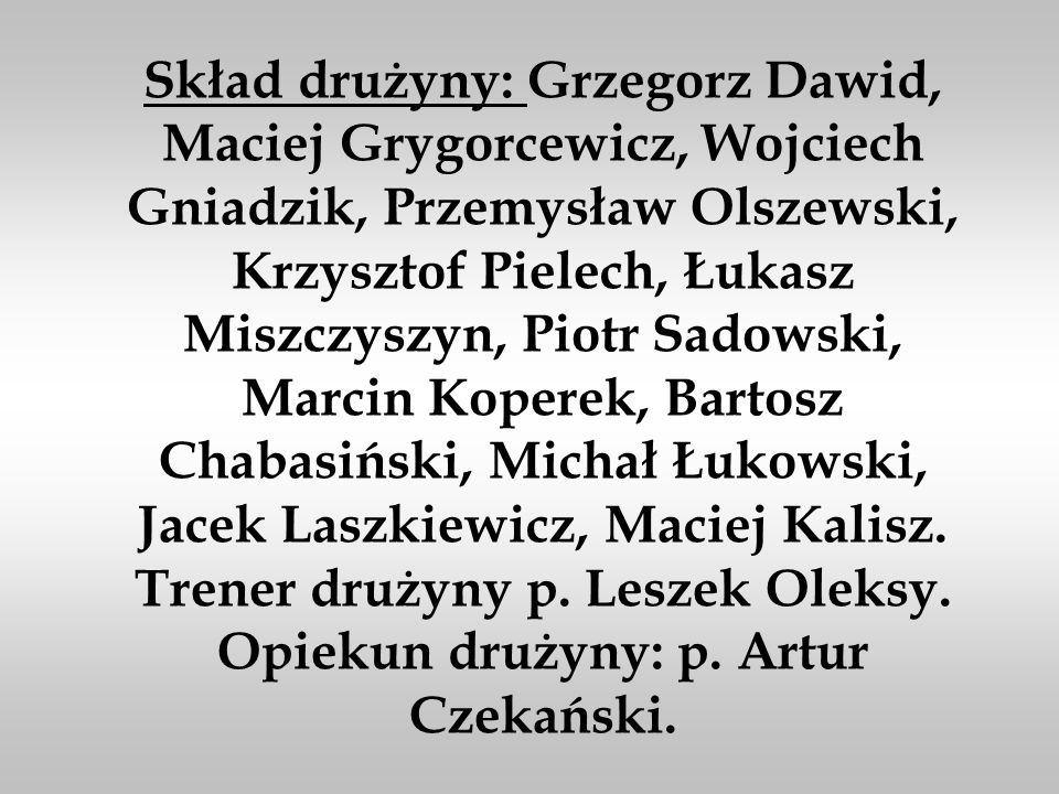 Skład drużyny: Grzegorz Dawid, Maciej Grygorcewicz, Wojciech Gniadzik, Przemysław Olszewski, Krzysztof Pielech, Łukasz Miszczyszyn, Piotr Sadowski, Marcin Koperek, Bartosz Chabasiński, Michał Łukowski, Jacek Laszkiewicz, Maciej Kalisz.