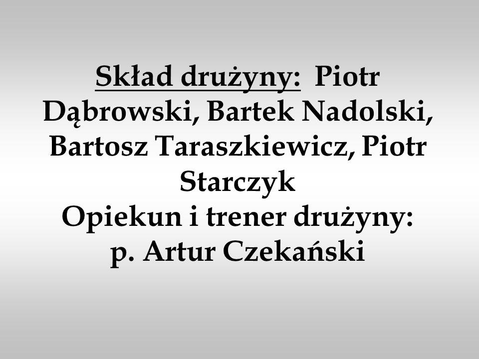 Skład drużyny: Piotr Dąbrowski, Bartek Nadolski, Bartosz Taraszkiewicz, Piotr Starczyk Opiekun i trener drużyny: p.