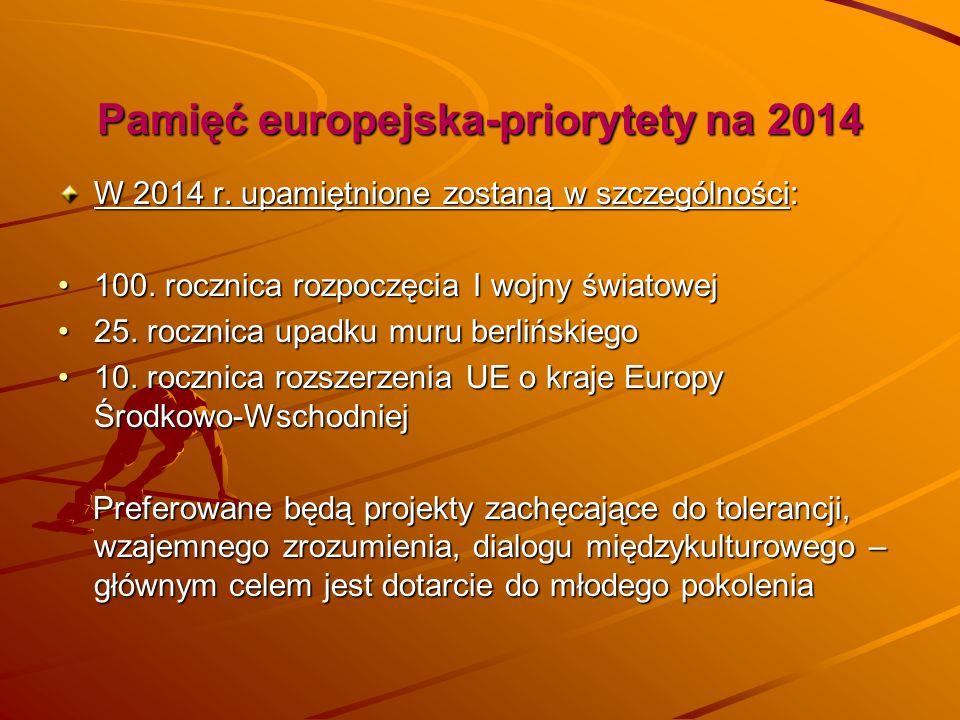 Pamięć europejska-priorytety na 2014