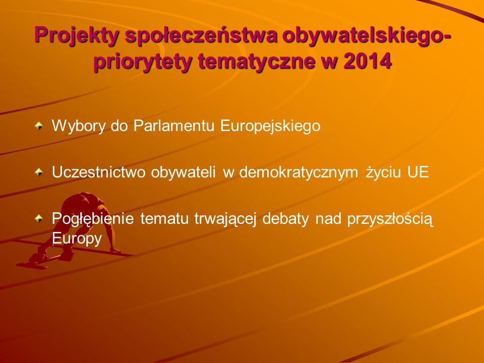 Projekty społeczeństwa obywatelskiego-priorytety tematyczne w 2014