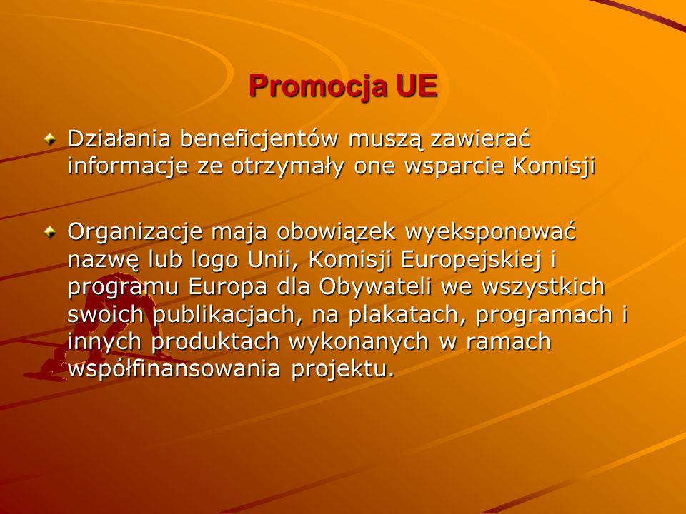 Promocja UE Działania beneficjentów muszą zawierać informacje ze otrzymały one wsparcie Komisji.