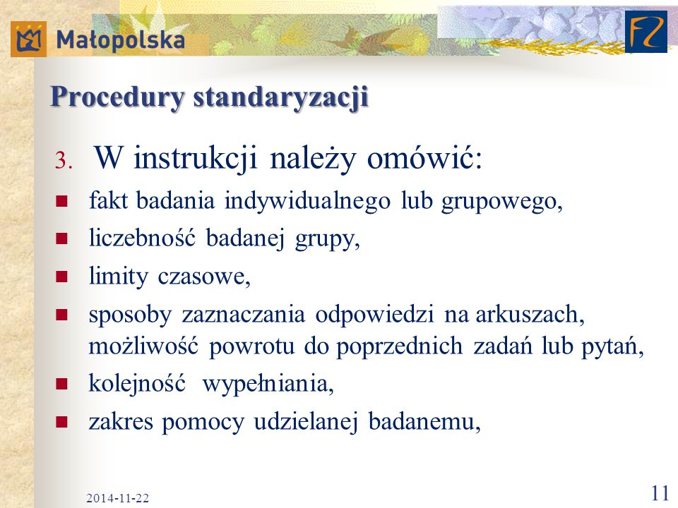 Procedury standaryzacji