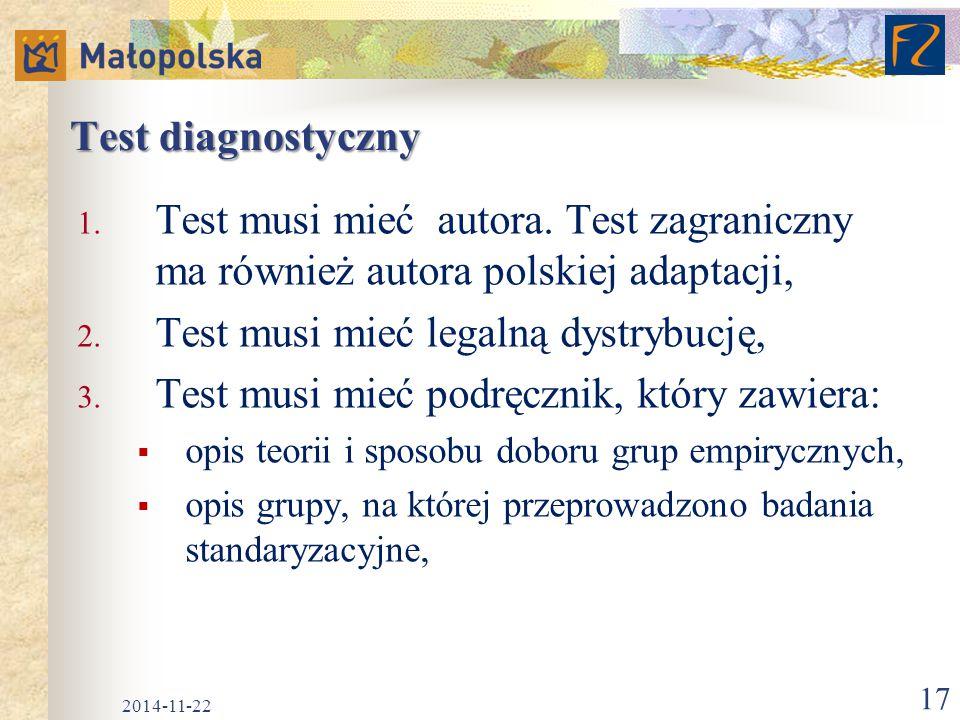 Test musi mieć legalną dystrybucję,