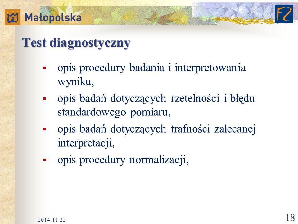 Test diagnostyczny opis procedury badania i interpretowania wyniku,