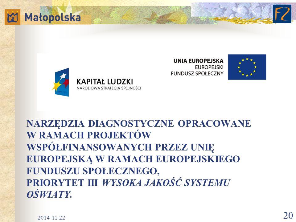 Narzędzia diagnostyczne opracowane w ramach projektów współfinansowanych przez Unię Europejską w ramach Europejskiego Funduszu Społecznego, Priorytet III Wysoka jakość systemu oświaty.