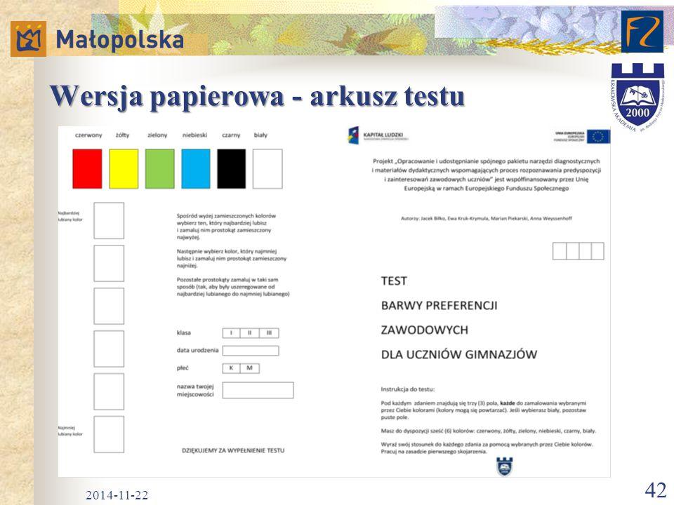 Wersja papierowa - arkusz testu