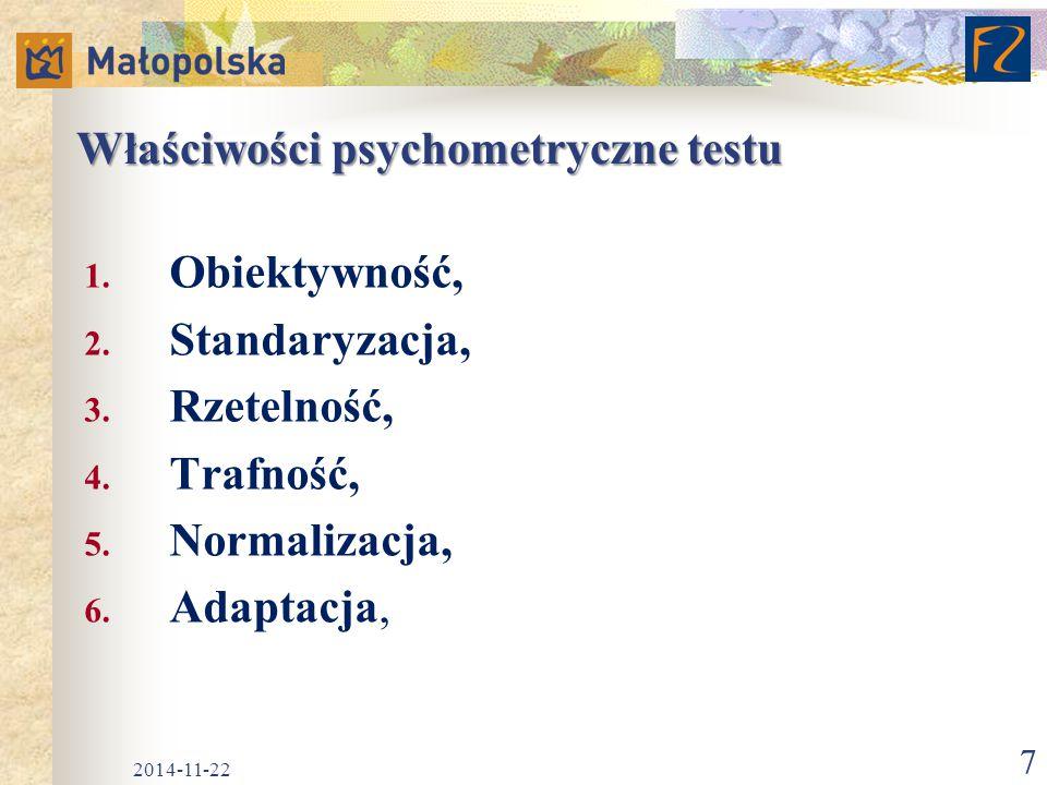 Właściwości psychometryczne testu