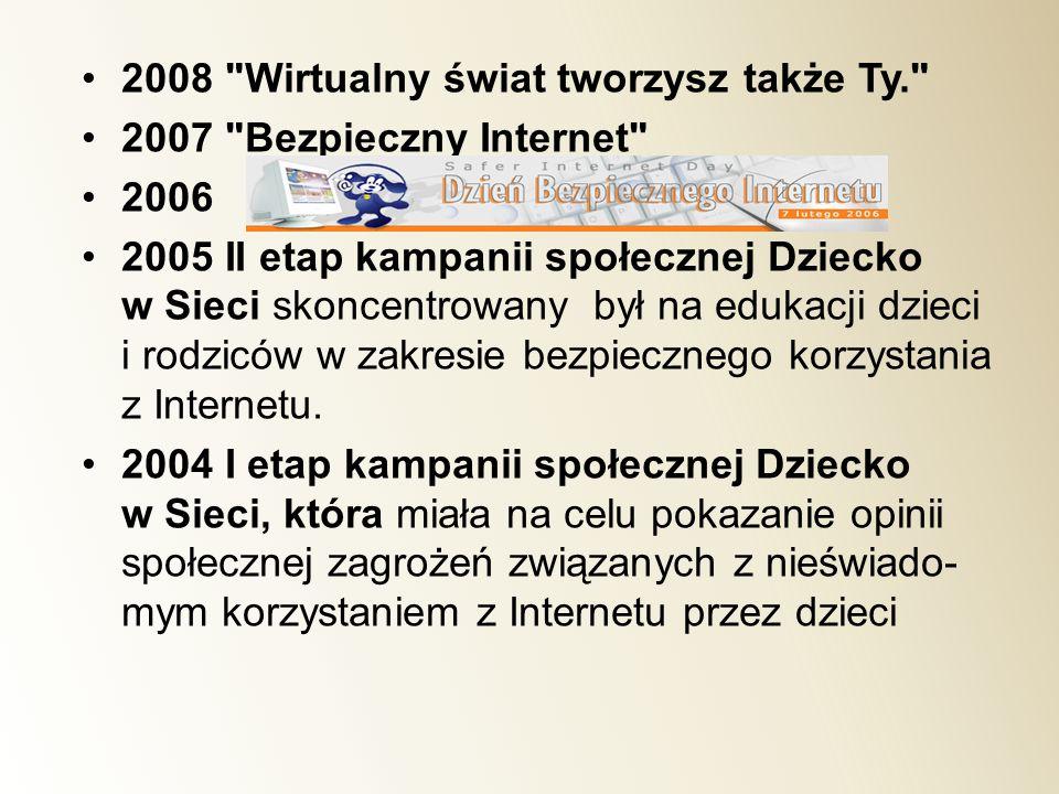 2008 Wirtualny świat tworzysz także Ty.