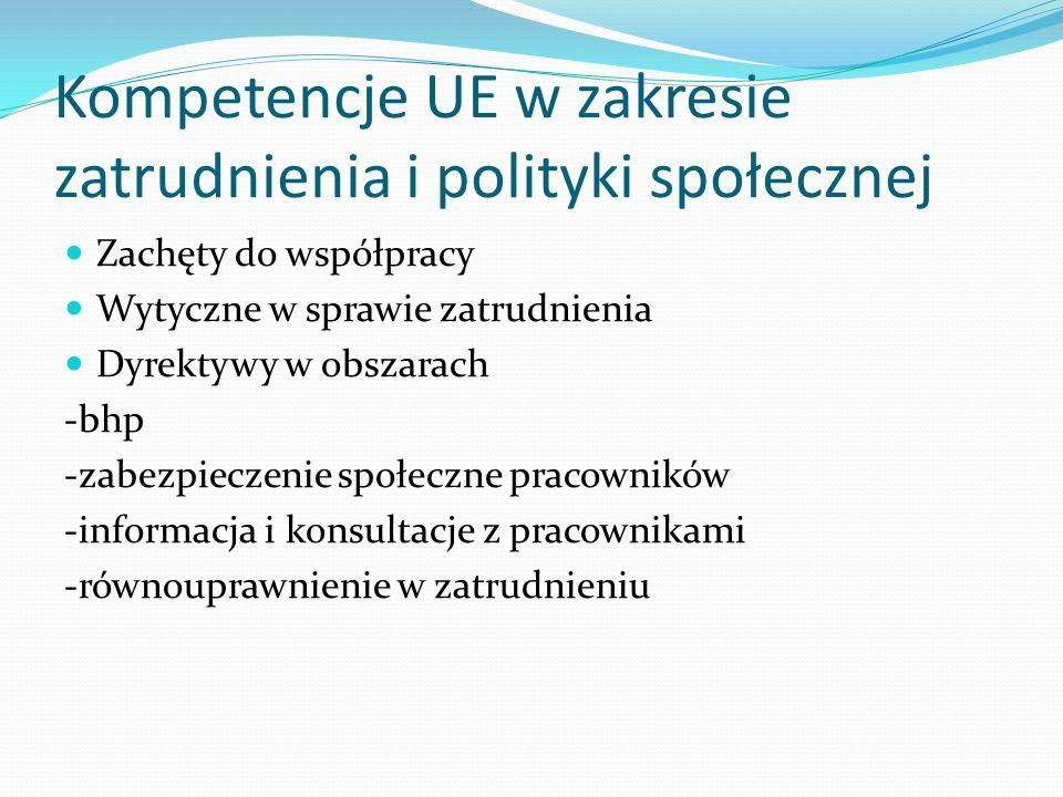 Kompetencje UE w zakresie zatrudnienia i polityki społecznej
