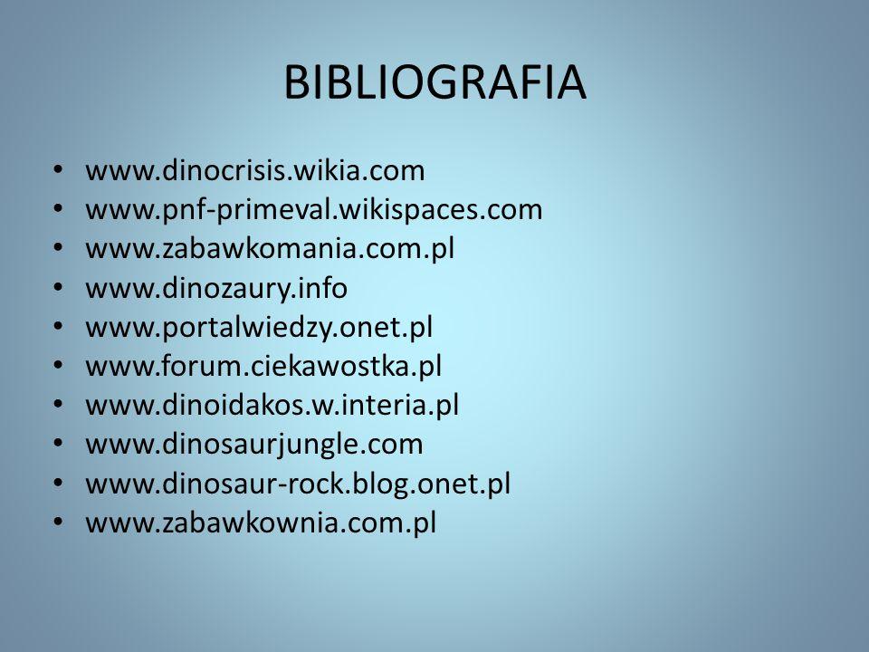 BIBLIOGRAFIA www.dinocrisis.wikia.com www.pnf-primeval.wikispaces.com