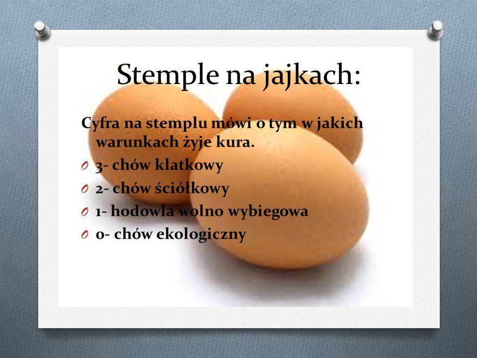 Stemple na jajkach: Cyfra na stemplu mówi o tym w jakich warunkach żyje kura. 3- chów klatkowy. 2- chów ściółkowy.