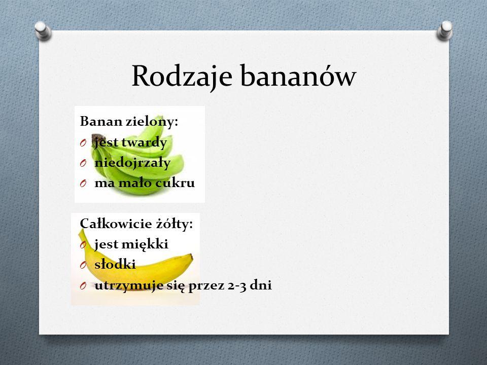 Rodzaje bananów Banan zielony: jest twardy niedojrzały ma mało cukru