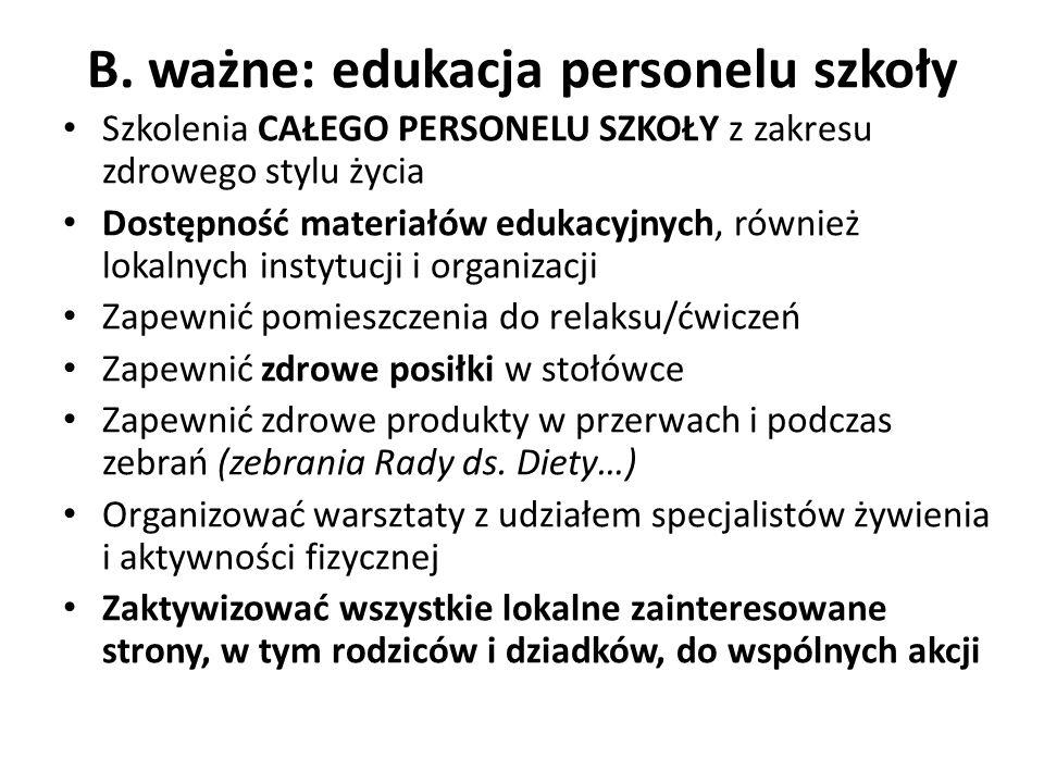 B. ważne: edukacja personelu szkoły