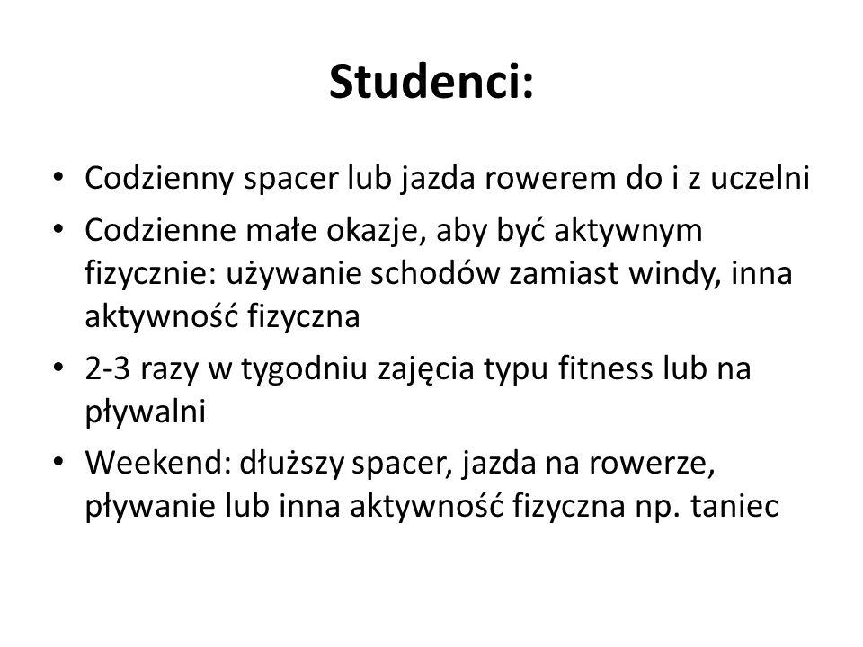 Studenci: Codzienny spacer lub jazda rowerem do i z uczelni
