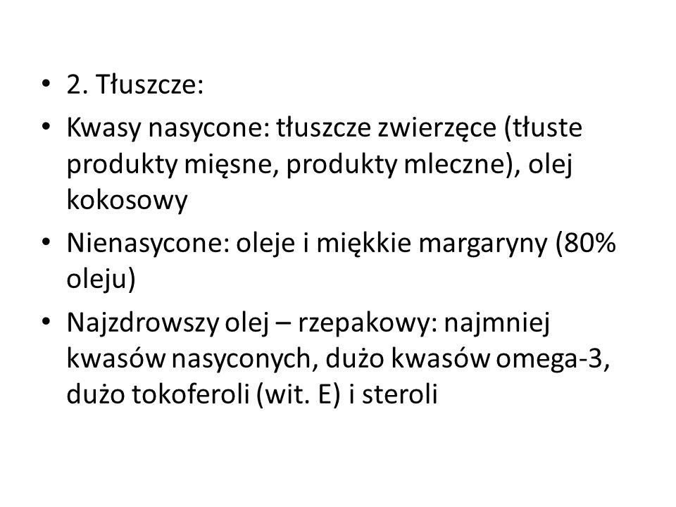 2. Tłuszcze: Kwasy nasycone: tłuszcze zwierzęce (tłuste produkty mięsne, produkty mleczne), olej kokosowy.