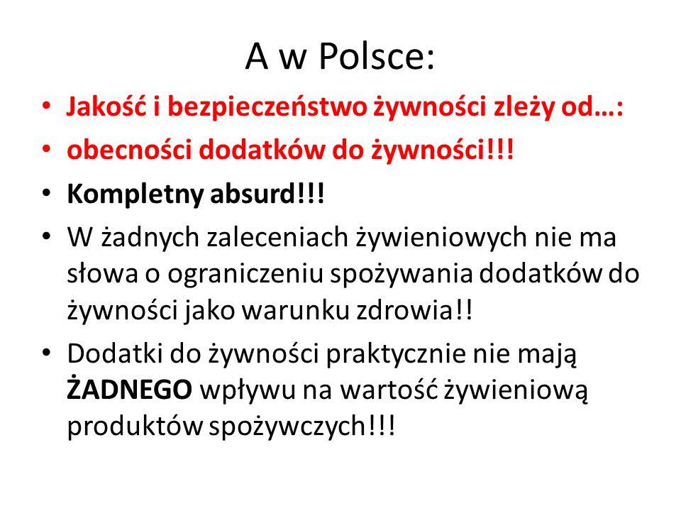 A w Polsce: Jakość i bezpieczeństwo żywności zleży od…: