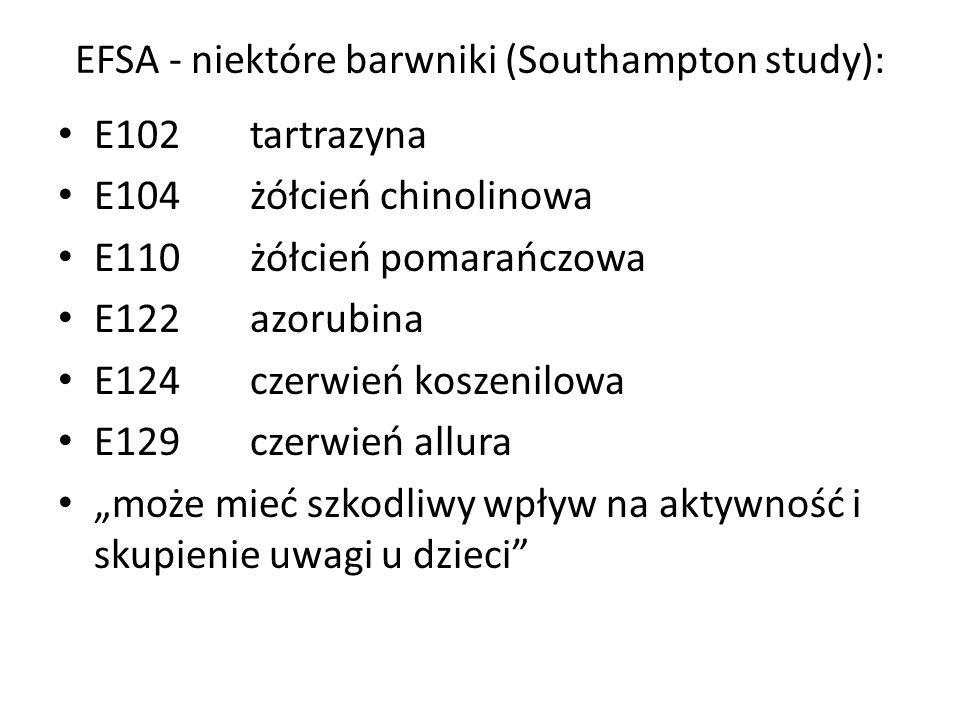 EFSA - niektóre barwniki (Southampton study):