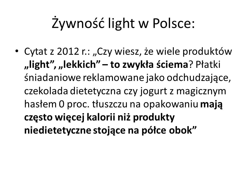 Żywność light w Polsce: