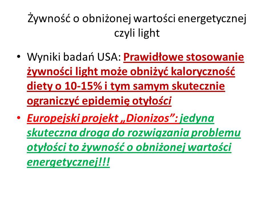 Żywność o obniżonej wartości energetycznej czyli light