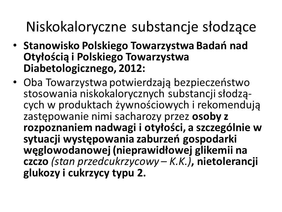 Niskokaloryczne substancje słodzące