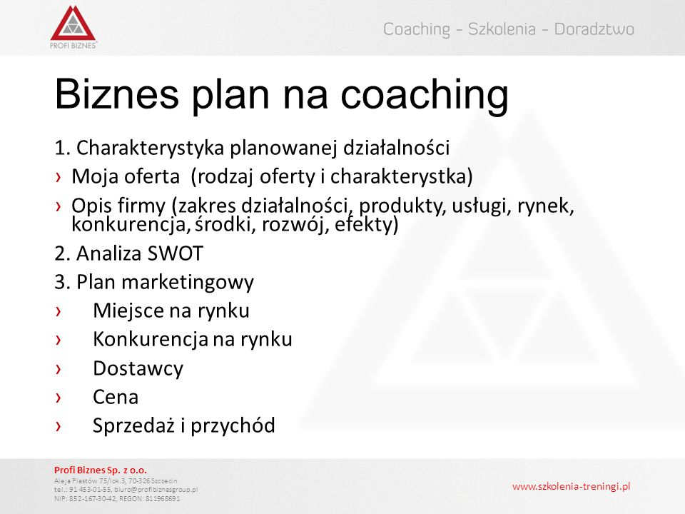 Biznes plan na coaching
