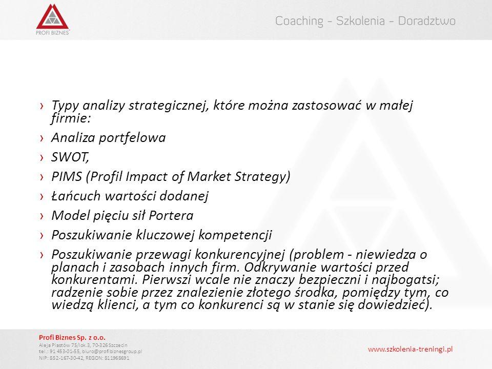 Typy analizy strategicznej, które można zastosować w małej firmie: