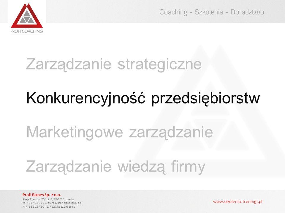 Zarządzanie strategiczne Konkurencyjność przedsiębiorstw Marketingowe zarządzanie Zarządzanie wiedzą firmy